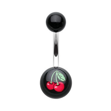 Cherry Acrylic Belly Bar