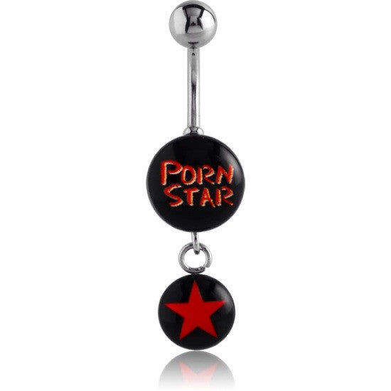 Porn Star XXX Dangly Belly Button Ring