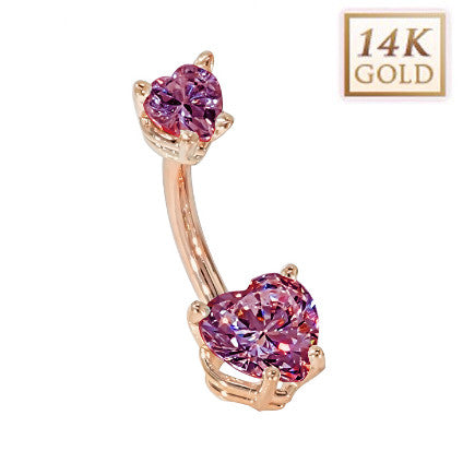 Alexandrite Hearts Solid Rose Gold Belly Bar (June)