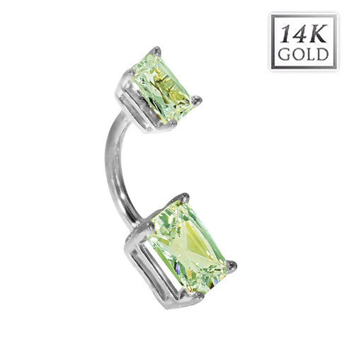 14k White Gold Emerald Cut August Birthstone Belly Ring