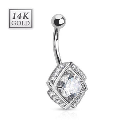 14k Solid White Gold Paved Windmill Belly Ring