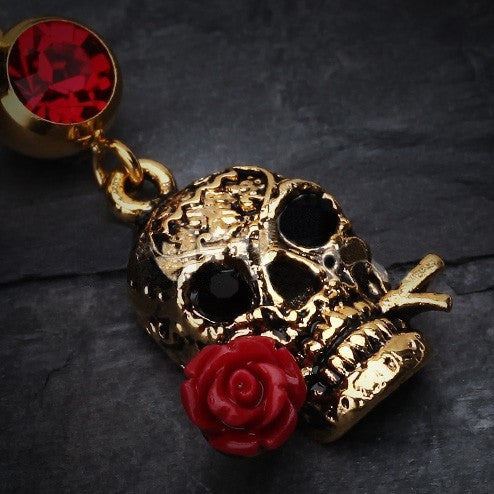 Ruby Rose Skull In Gold Dangle Navel Ring