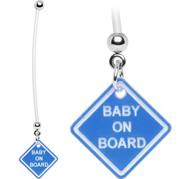 Pink Baby On Board BioFlex Pregnancy Belly Ring