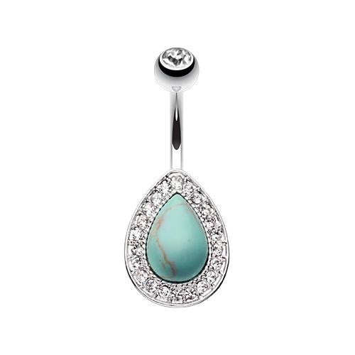 Vintage Turquoise And Gems Fixed Belly Ring Australia