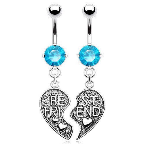 Aqua Blue Gem Best Friend Belly Dangle