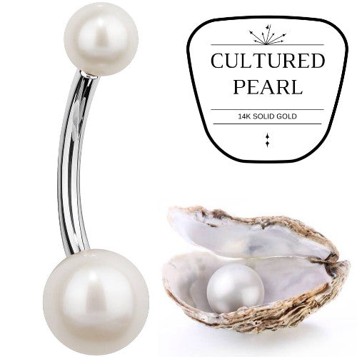Cultured Pearl White Gold Belly Bar