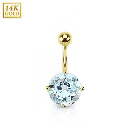 Swiss Blue Topaz Set in 14k Solid Yellow Gold Belly Bar