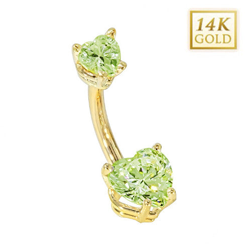 Peridot Hearts Solid Yellow Gold Belly Bar (August)