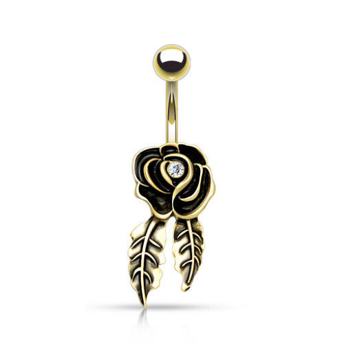 Golden Vintage Rose with Dangling Leaves Belly Ring