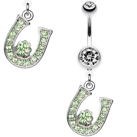 Lucky Four Leaf Clover Charm Belly Rings