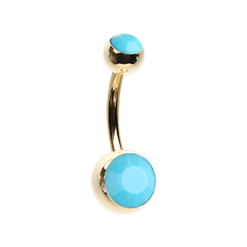 Golden Turquoise Stone Belly Piercing Ring