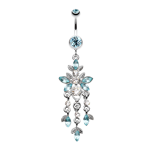 Elegant butterfly sparkling chandelier belly ring bellylicious butterfly chandelier belly button jewellery mozeypictures Images