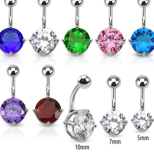 Round Cubic Zirconia Gem Fixed/Anchored Belly Ring