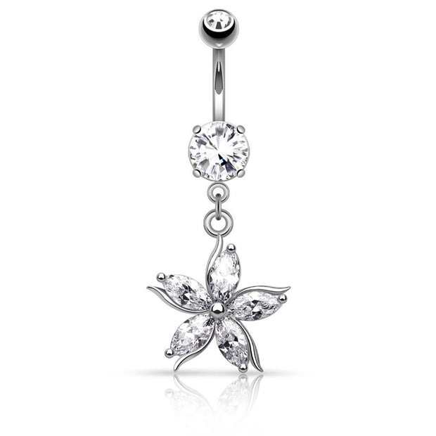 Jewelled Petal Flower Dangly Belly Ring