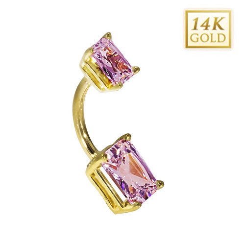 14k Yellow Gold Emerald Cut June Belly Ring
