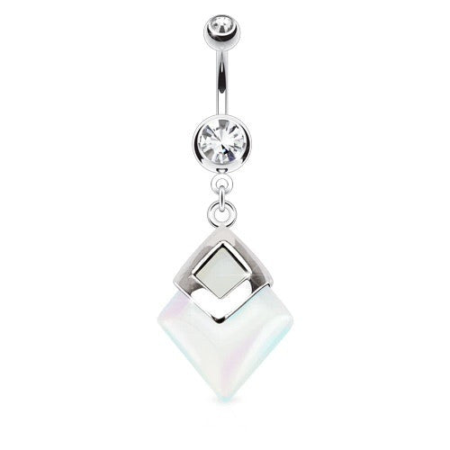 Semi Precious Diamond Shaped Opalite Stone Dangling Navel Piercing