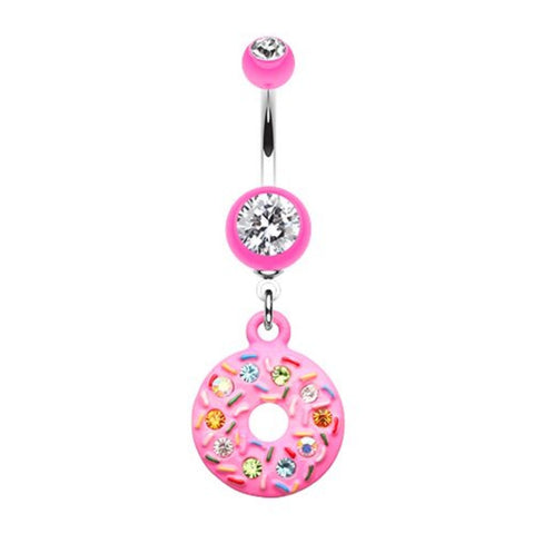 Pink Frosted Glitter Donut Dangle Belly Bar