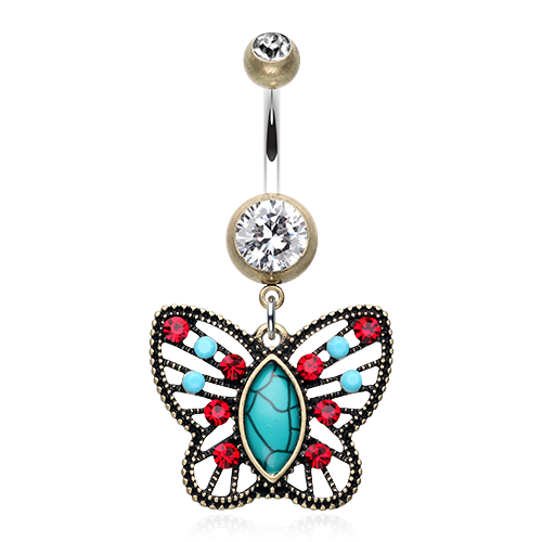 Hippie Gypsy Butterfly Belly Button Ring