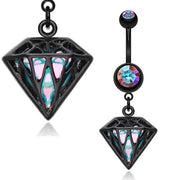 Blackline Iridescent Urban Diamond Dangle Navel Ring