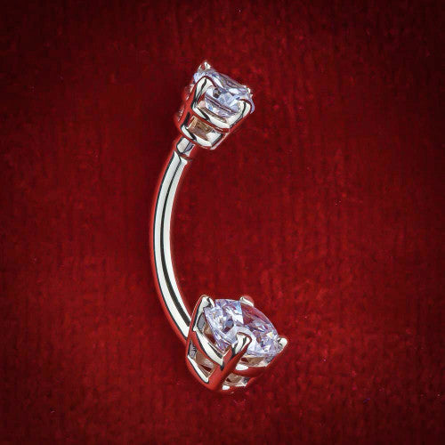 Double Round Gem Solid 14k White Gold Belly Button Ring
