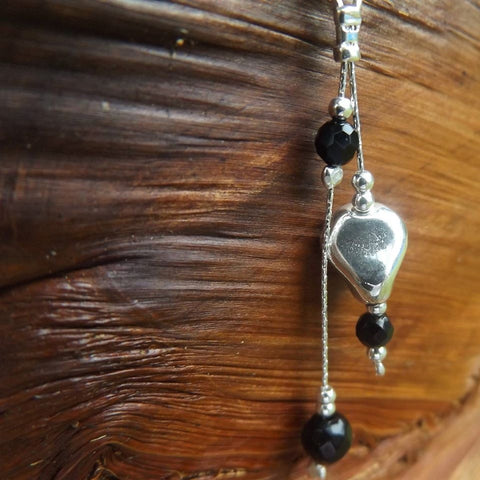 Odyssey Sterling Silver & Black Onyx Drops Belly Ring