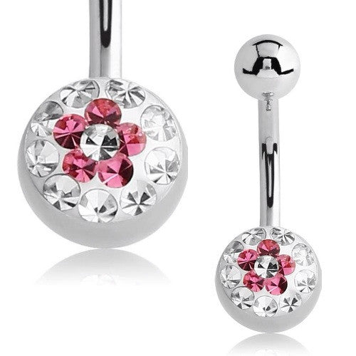 Crystal Flower Basic Belly Piercing Jewellery