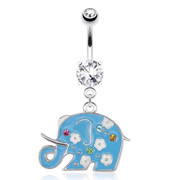 Sky Blue Floral Elephant Animal Dangling Navel Ring