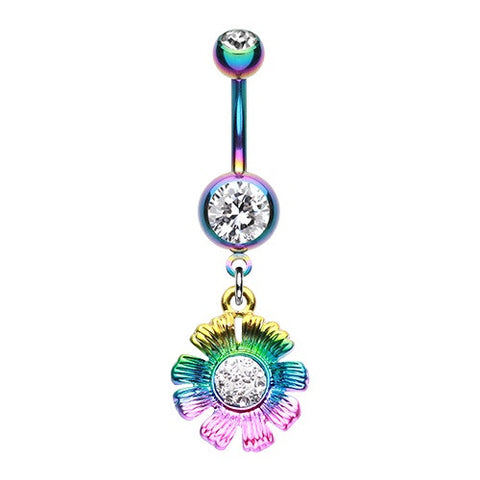 Rainbow Sparkle Flower Dangle Belly Button Ring