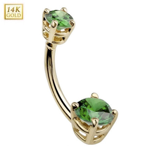 Double Round Emerald Gem Solid 14k Yellow Gold Belly Ring