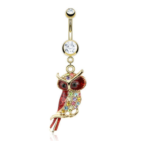 Dangling Gold Plated Owl Belly Piercing Jewellery