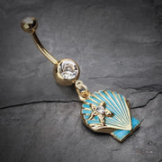 Powder Blue Scallop Shell With Star Dangling Belly Ring