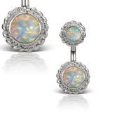Braid Solitaire Natural Opal White Gold Navel Bar