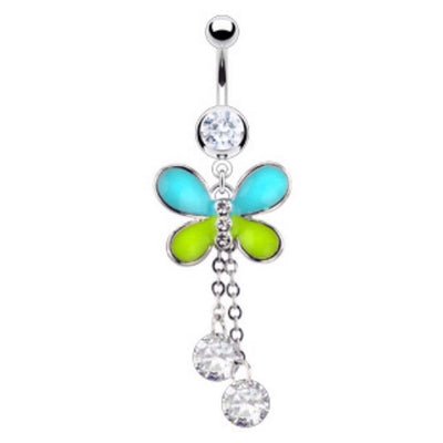 Two Tone Epoxy Butterfly With Cubic Zirconia Dangling Animal Belly Ring