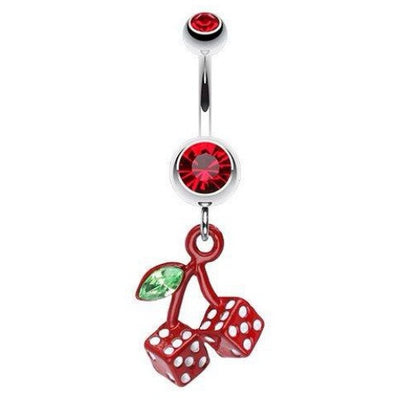 Rich Red Dice Cherry Belly Dangle