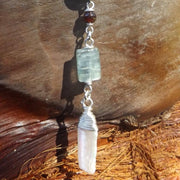Odyssey 925 Silver with Garnet, Kyanite & Biwa Pearl Belly Dangle