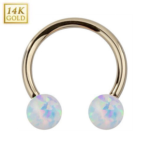 14K Solid Yellow Gold Circular Barbell with White Opal
