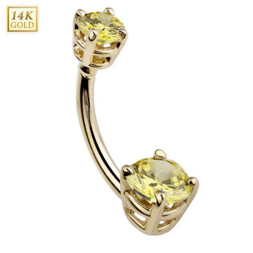 November Citrine Gem Solid Yellow Gold Belly Ring