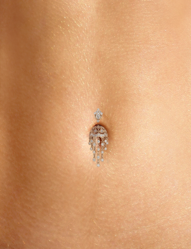Diamond MT Tiara & Parasol 18k Rose Gold Belly Ring