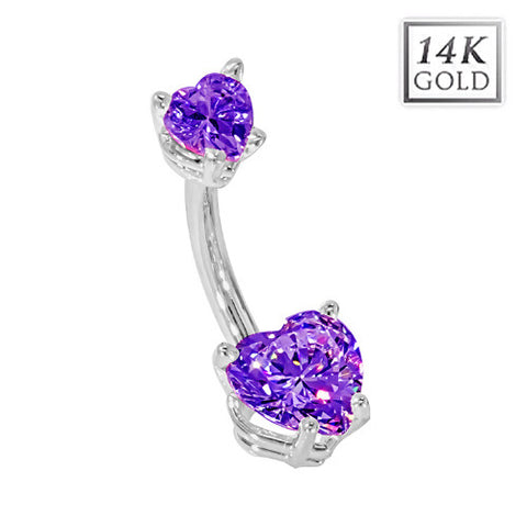 White Gold February Birthstone Belly Bars in Amethyst Love Hearts