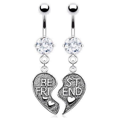 Clear Gem Best Friend Belly Dangle