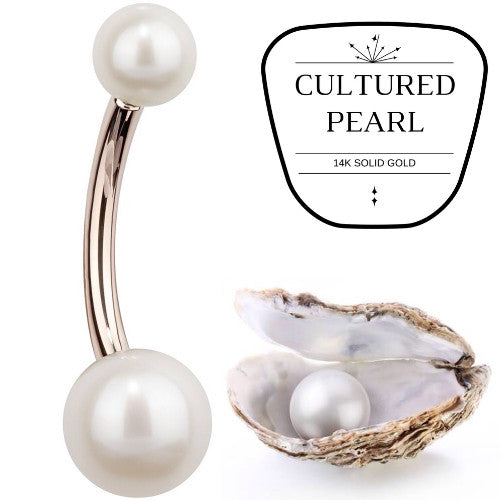 Cultured Pearl Rose Gold Belly Bar