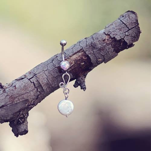 Odyssey Sterling Silver and Freshwater Coin Pearl Belly Bar