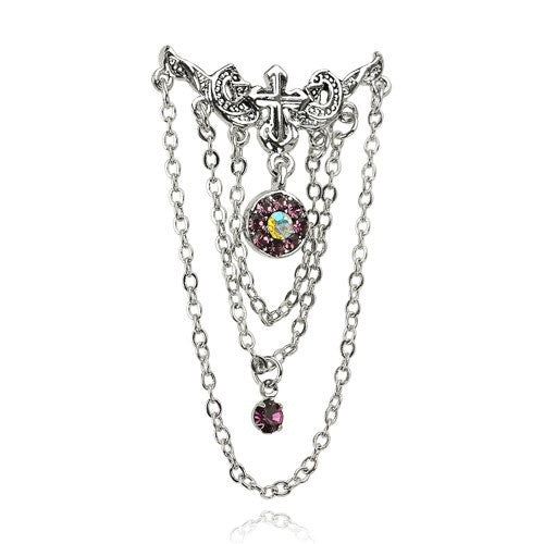 Vintage Reverse Chandelier With Amethyst Cubic Zirconia Gems Top Down Belly Ring