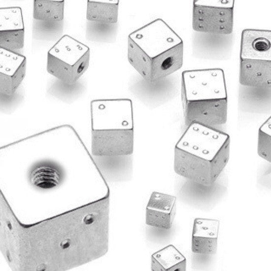 Threaded Steel Dice Top Ball Body Jewellery Parts