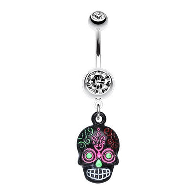 Vibrant Ancient Myan Skull Belly Ring