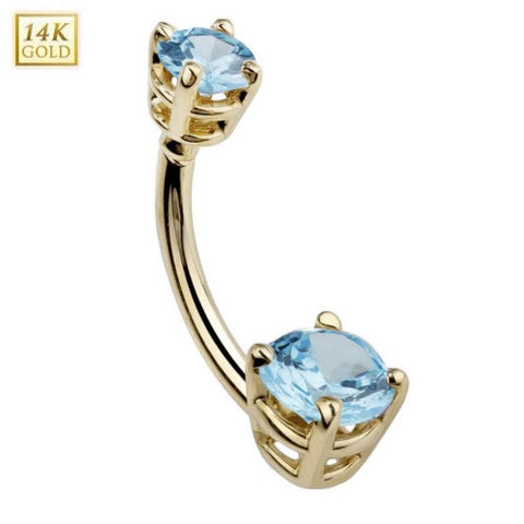 Birthstone March Aquamarine Gem Solid 14k Yellow Gold Belly Ring