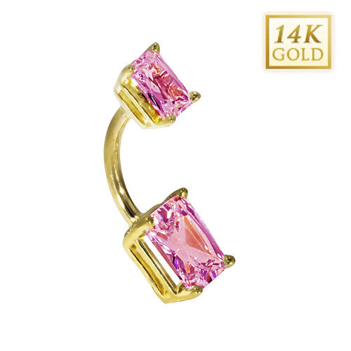 14k Yellow Gold Emerald Cut October Belly Ring