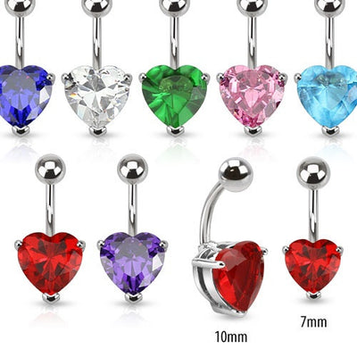Heart Cubic Zirconia Gem Fixed/Anchored Belly Ring