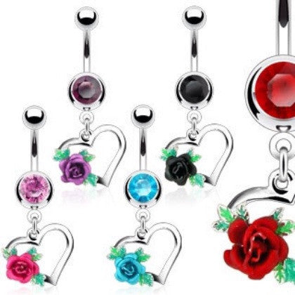 Floral Heart With Sparkling Cubic Zirconia Gems Dangling Belly Button Ring