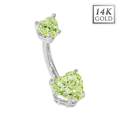 White Gold August Birthstone Belly Bar in Peridot Green Love Hearts